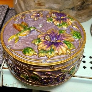 3D Floral Trinket box, jewelry box, hummingbird